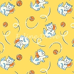 Fat Quarter - Toy Box Miniatures - Kittens - Yellow