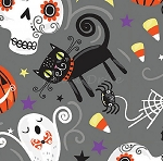 Fat Quarter - Trick or Treat - Nighttime Friends - Gray