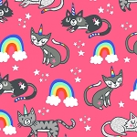 Fat Quarter - Unicorn Cats & Rainbows - Pink