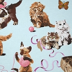 Fat Quarter - What's New Pussy Cat - Light Blue
