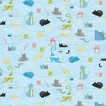 Fat Quarter - Whiskers - Cats in Blinds - Blue