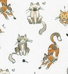 Fat Quarter - Whiskers & Tails - Kitty Cats - White - Combed Cotton