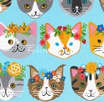 Fat Quarter - Whiskers & Tails - Fancy Cats - Blue - Combed Cotton
