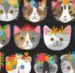 Fat Quarter - Whiskers & Tails - Fancy Cats - Black - Combed Cotton