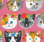 Fat Quarter - Whiskers & Tails - Fancy Cats - Pink - Combed Cotton