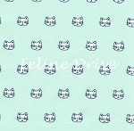 Whiskers & Tails - Cat Heads - Aqua
