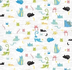 Fat Quarter - Whiskers - Cats in Blinds - White