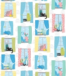 Fat Quarter - Whiskers - Cats in Windows - White