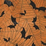 Fat Quarter - Wicked - Bats & Spider Webs - Orange