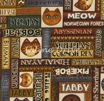 Fat Quarter - Wild Cats - Cat Names & Faces