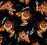 Fat Quarter - Tigers - Black
