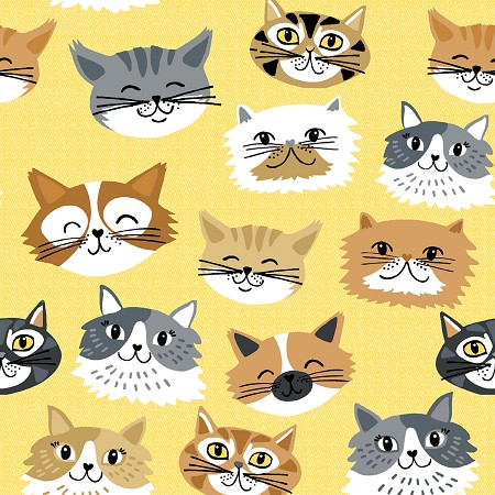 Comfy Flannel - Cat Faces - Yellow