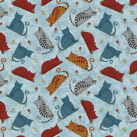 Fat Quarter - Colorful Cats - Cat Toss - Sky