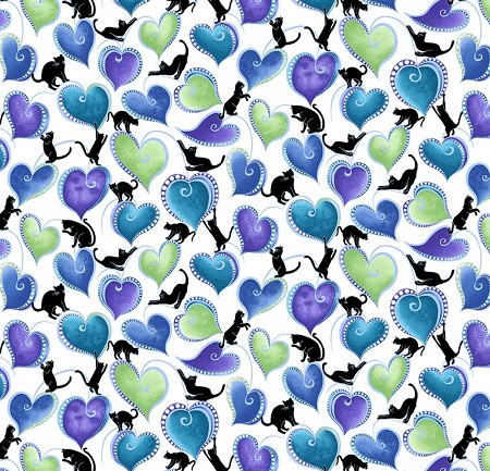 Fat Quarter - Cat-i-tude - Singing the Blues - Hearts & Cats - White