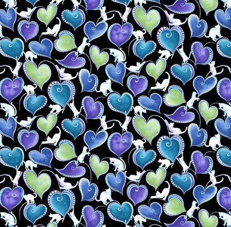 Fat Quarter - Cat-i-tude - Singing the Blues - Hearts & Cats - Black