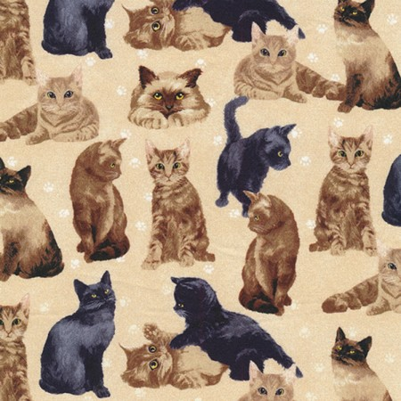 Fat Quarter - My Pet Family - Cats - Brown