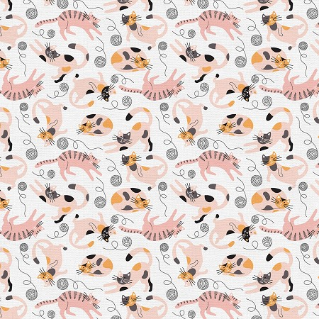 Fat Quarter - Tails & Whiskers - Playing Cats - White