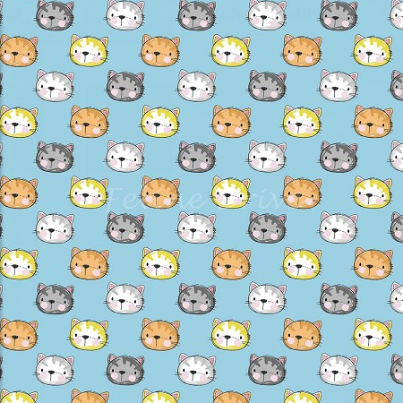 Fat Quarter - Purrfect Pals - Cat Faces - Blue
