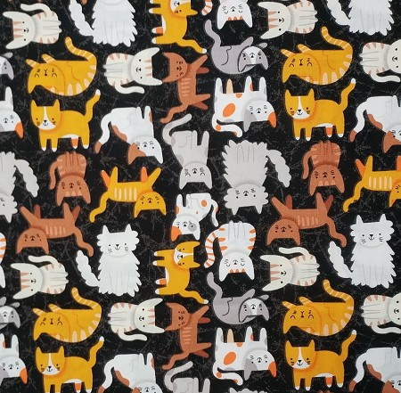 Fat Quarter - Cats on Black