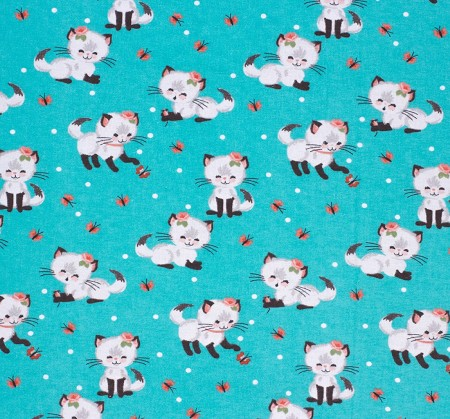 Flannel - Super Snuggle Flannel - Pretty Kitty Plays - Dark Turquoise