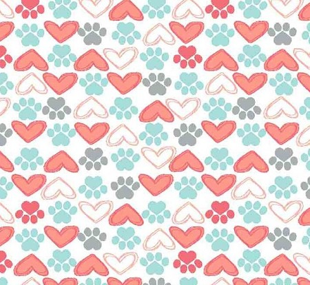 Flannel - Super Snuggle Flannel - Hearts & Paws - Coral & Mint