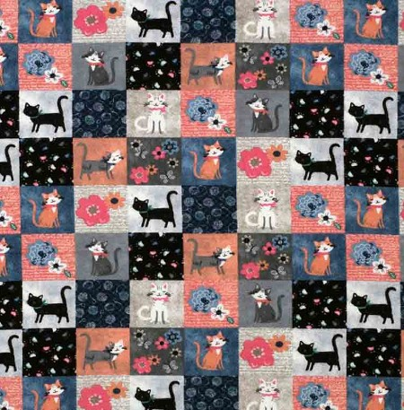 Flannel - Cute Kitty Patchwork