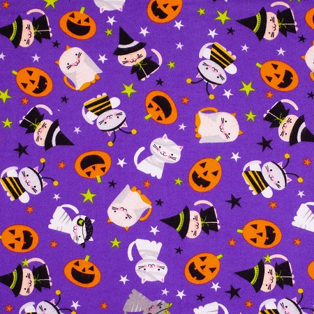 End of Bolt Piece - Flannel - Super Snuggle Flannel - Halloween Cats - 5.5""