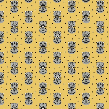 Fat Quarter - Retro Minis - Leopards - Gold