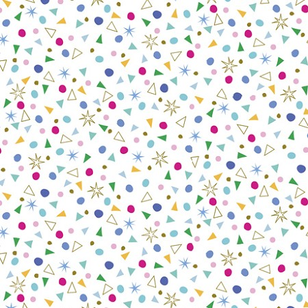 Fat Quarter - Kitty Cats - Confetti - White