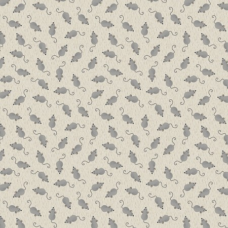 Fat Quarter - Fat Cat - Mice Allover - Light Gray
