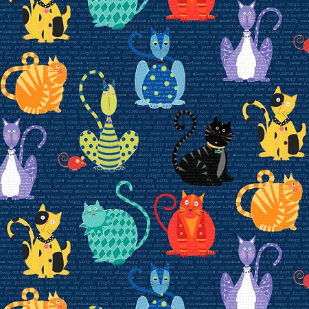 Fat Quarter - Feeline Good - Cats - Navy