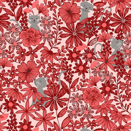 Fat Quarter - Purrfect Petals - Cats in Flowers - Red