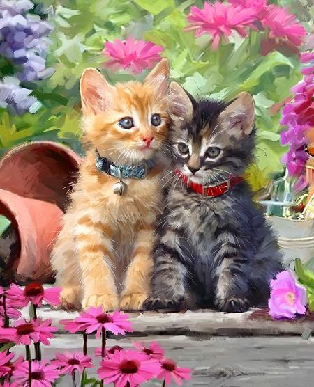 Kittens & Flowers Panel