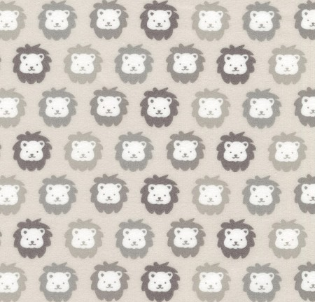 Flannel - Cozy Cotton Flannel - Lions - Gray