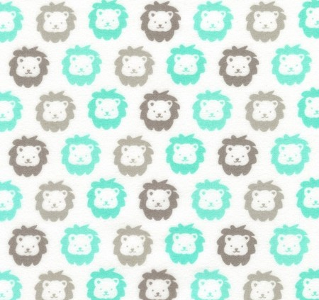 Flannel - Cozy Cotton Flannel - Lions - Mint
