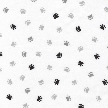 Fat Quarter - Flannel - Little Savannah Flannel - Paws - White