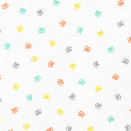 Flannel - Little Savannah Flannel - Paws - Pastel