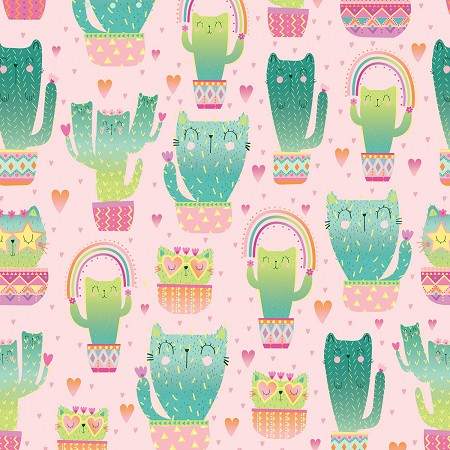 Quirky Cat Cacti - Pink