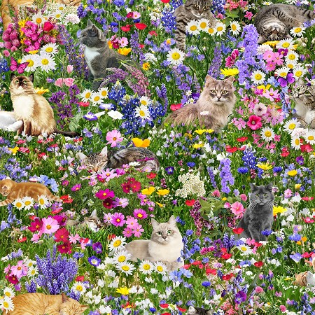 Fat Quarter - Cats Playing in Wildflowers - Digital