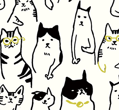 Cats & Dogs - Sketched Cats - Natural - CANVAS