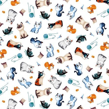 Fat Quarter - Feline Friends - Cats Allover - White