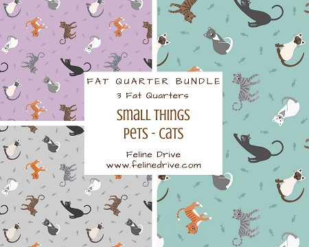 Fat Quarter Bundle - Small Things Pets - Cats - 3 FQs