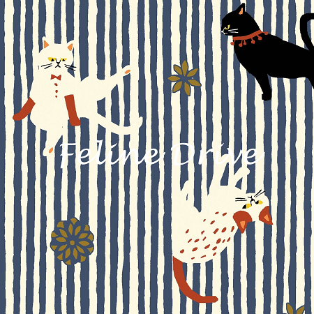 Fat Quarter - Hyakka Ryoran Neko 3 - Cat Stripe - Blue