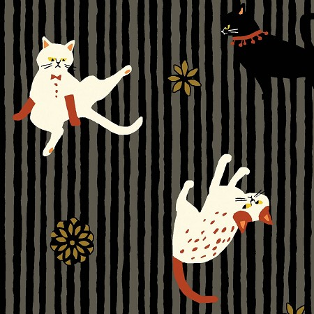 Fat Quarter - Hyakka Ryoran Neko 3 - Cat Stripe - Black