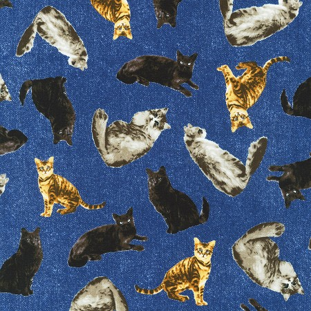 Fat Quarter - Whiskers & Tails - Cats on Denim