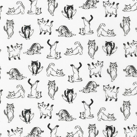 Fat Quarter - Animal Club - Cats - White