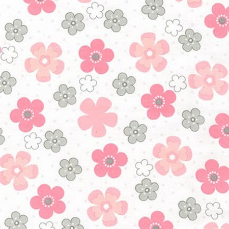 Fat Quarter - Flannel - Cozy Cotton Flannel - Pink Flower Toss