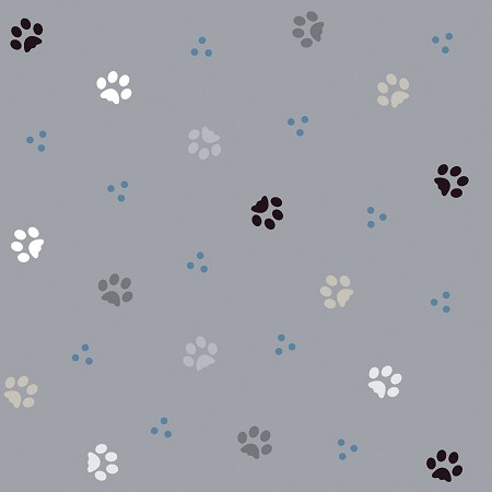 Fat Quarter - ABCDiaries - Paws - Gray - Digital