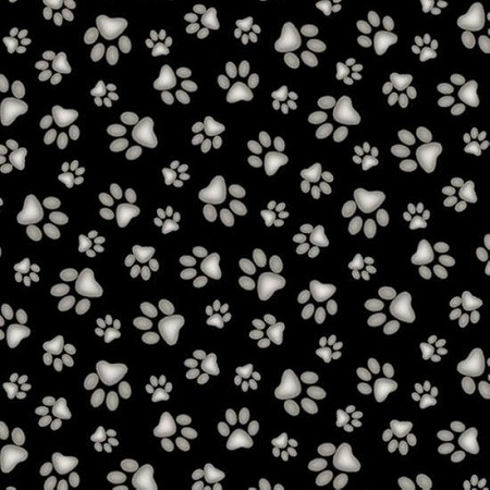 Fat Quarter - Adorable Pets - Paw Prints - Black