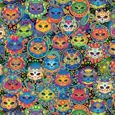 Fat Quarter - Bright Cat Sugar Skulls